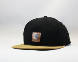 кепка snapback Carhartt черно-коричневая с кожаным логотипом